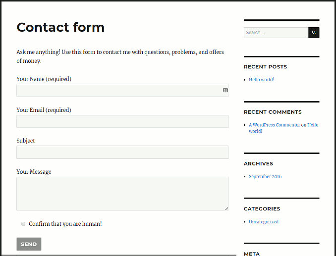 A contact form page in WordPress