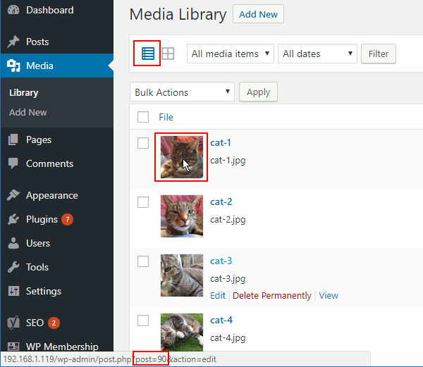 WordPress media gallery list view