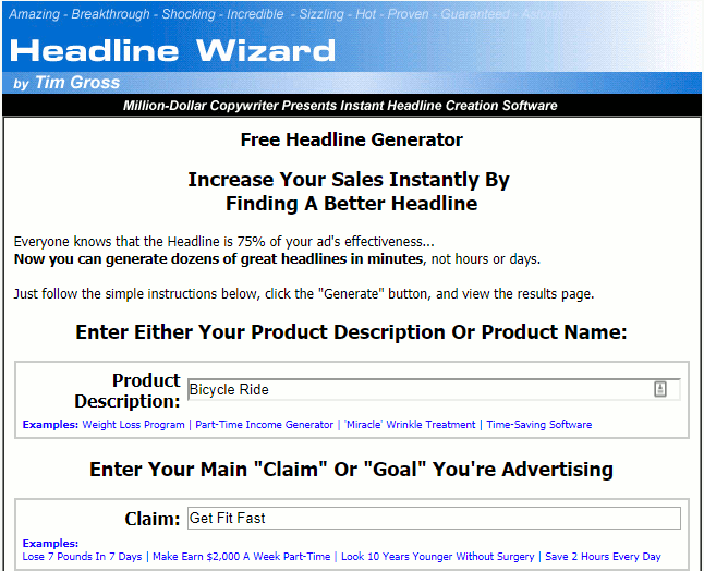 Headline Wizard website for creating headlines for articles