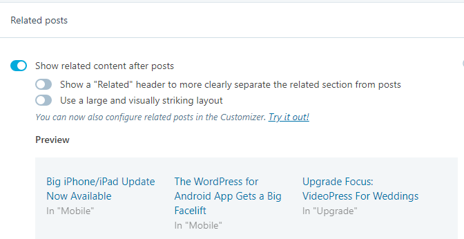 The Related Posts feature in the Jetpack plugin for WordPress
