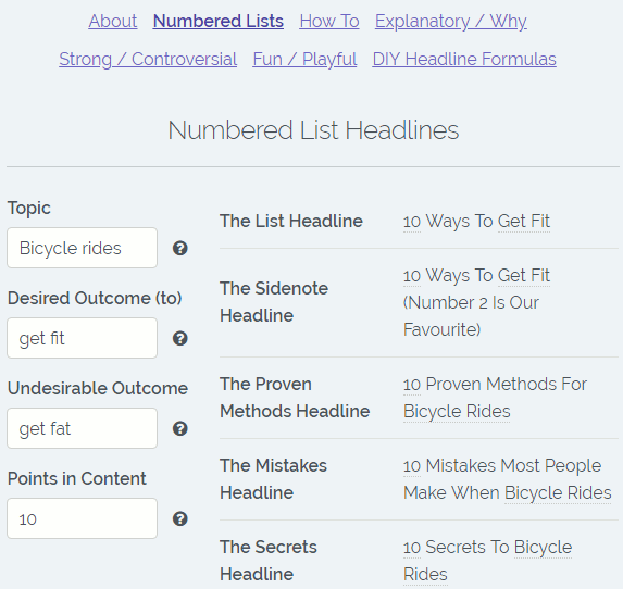 Kickass Headline Generator website by Sumo