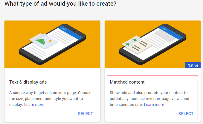 Google Matched Content ads