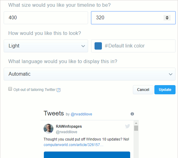 Create a Twitter widget for your website