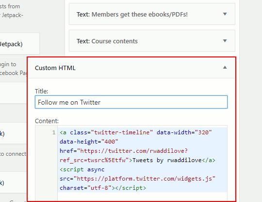Add a Custom HTML widget to the WordPress sidebar