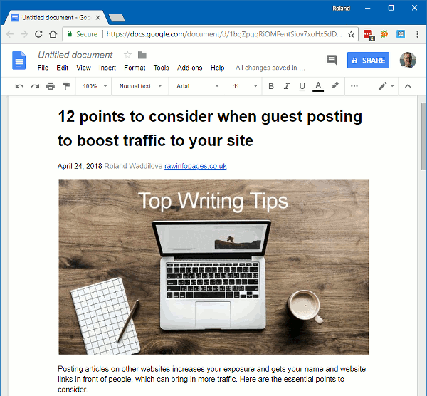 Copy and paste a web page into Google Docs