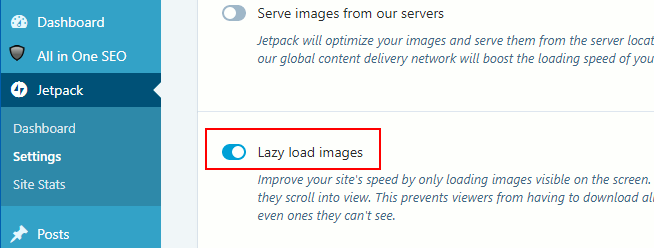 Jetpack lazy load images to speed up web pages in WordPress