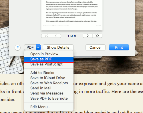 Safari print to PDF on the Apple Mac