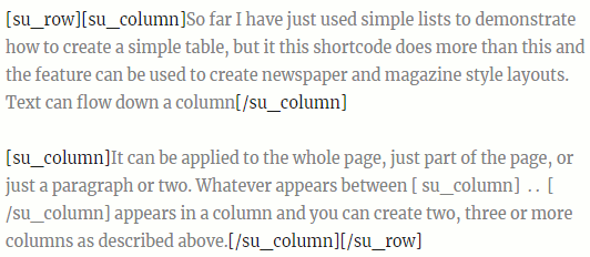 Use Shortcodes Ultimate in WordPress to create columns of text