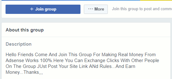 Avoid Facebook groups where people exchange clicks
