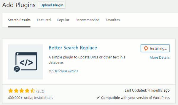 Installing Better Search Replace WordPress plugin