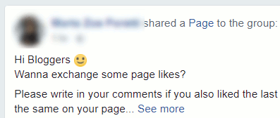 People exchange likes on social sites like Facebook