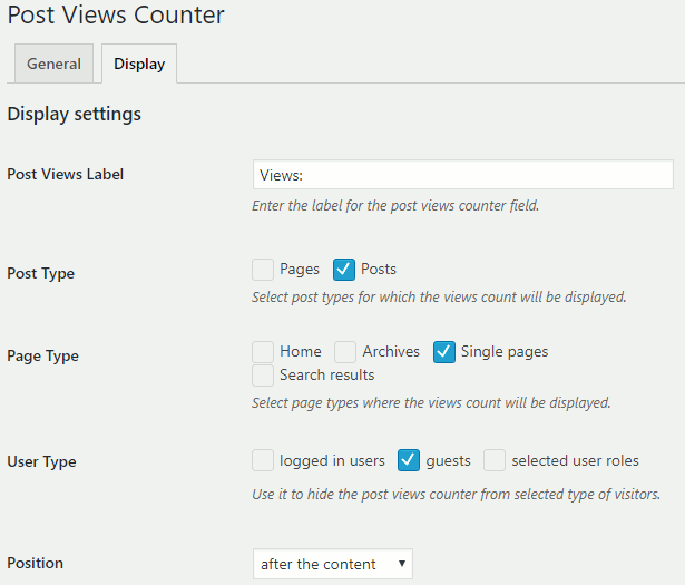 Post Views Counter plugin for WordPress