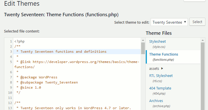 View or edit functions.php in the WordPress editor