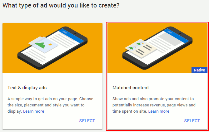 AdSense matched content ads