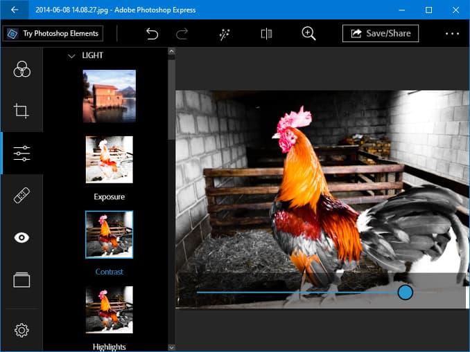 Photoshop Express app running in Windows