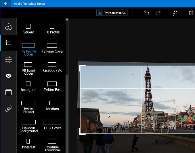 Photoshop Express app running in Windows 10