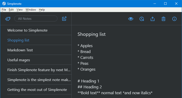 Simplenote notes app for Windows 10