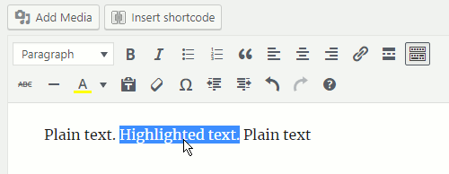 Highlight text in the WordPress post editor