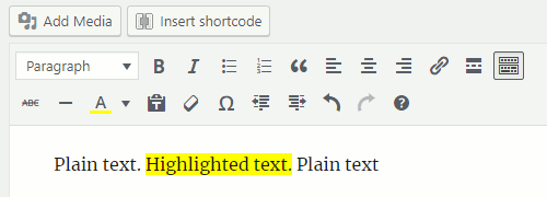 Highlighted text in the WordPress post editor