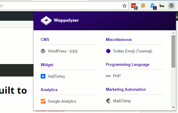 Wappalyzer extension for Chrome shows what a website is built with