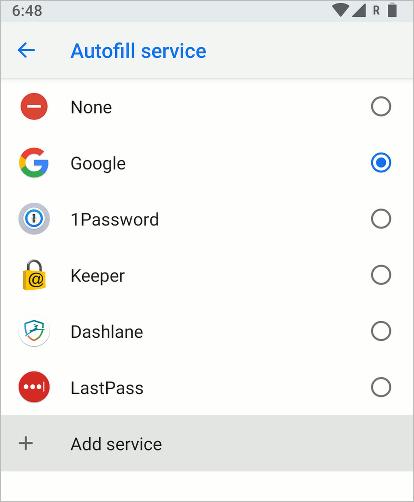 Android Oreo Autofill service