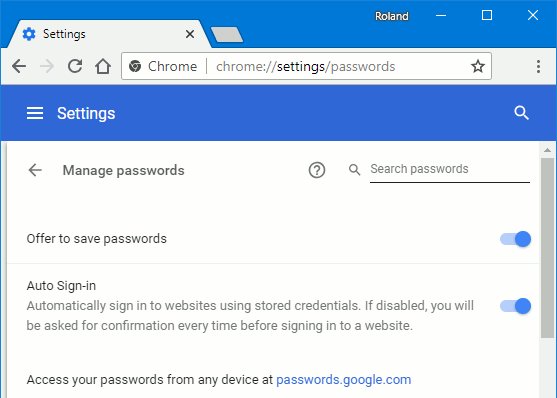 Enable Chrome passwords feature in settings