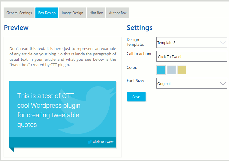 ClickToTweet WordPress plugin settings