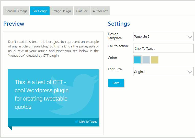 ClickToTweet WordPress plugin settings