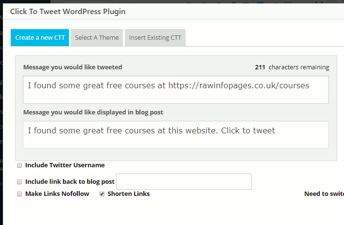 Inserting a Twitter tweet into a WordPress post with the ClickToTweet plugin