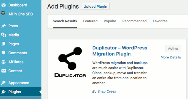 Duplicator backup plugin for WordPress