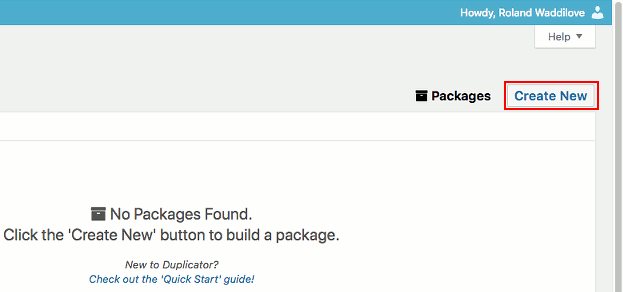 Duplicator WordPress backups are called packages. Create one to start a backup