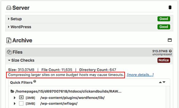 Duplicator backup plugin for WordPress warning notice
