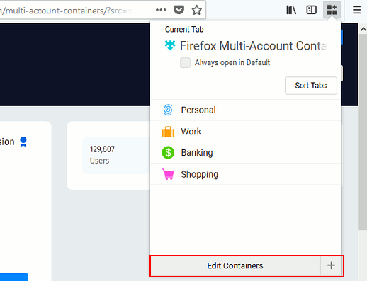 Firefox Containers add-on