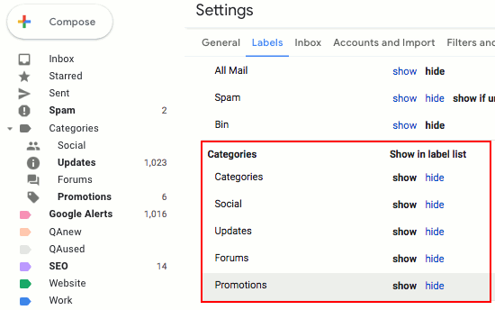 Customise Gmail categories and show or hide them