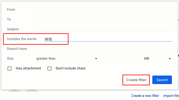 Create a rule in Gmail to sort incoming messages