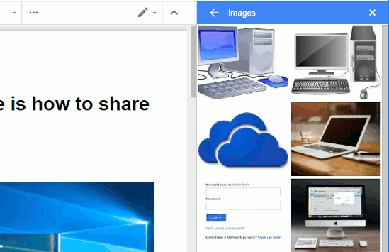 Viewing images suggested by Google Docs Explore feature