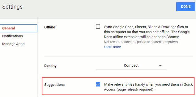 Enable Quick Access in Google Drive settings