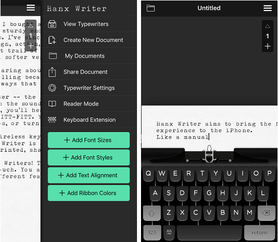 Hanx Writer for the iPhone is like having an old fashioned typewriter