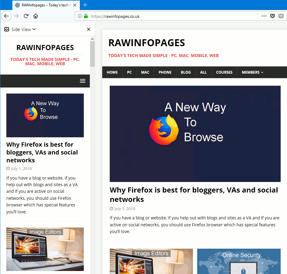 Firefox Side View showing a mobile site in the sidebar