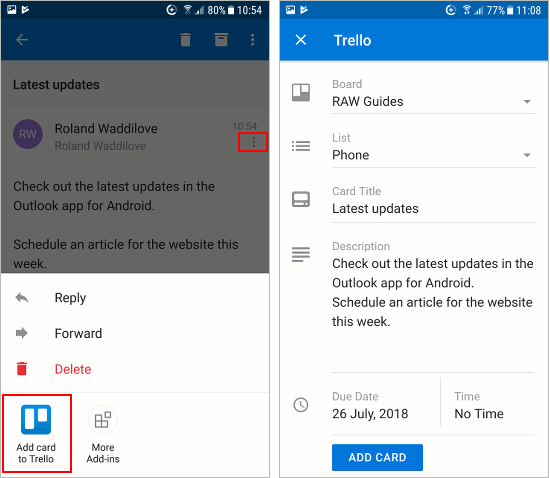 Use an add-in with Outlook email app on an Android phone