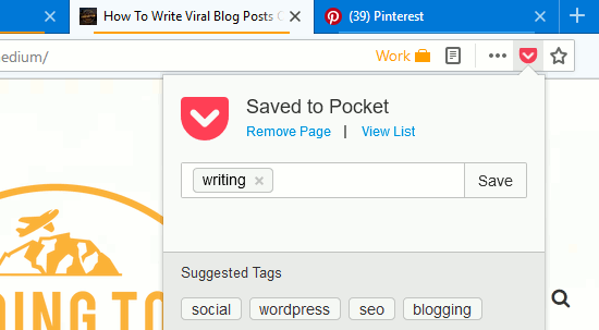 Pocket stores web posts like a bookmarking service