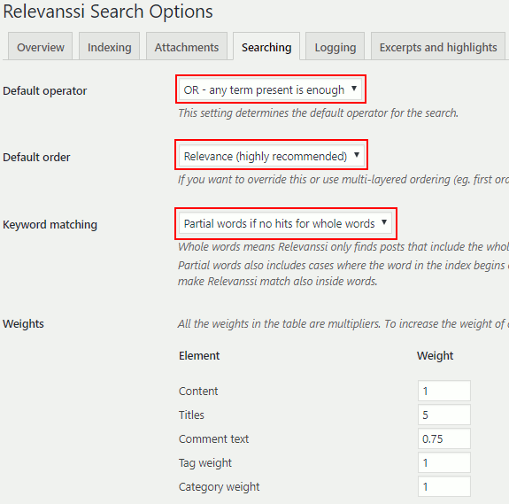 Relevanssi search plugin for WordPress configuration