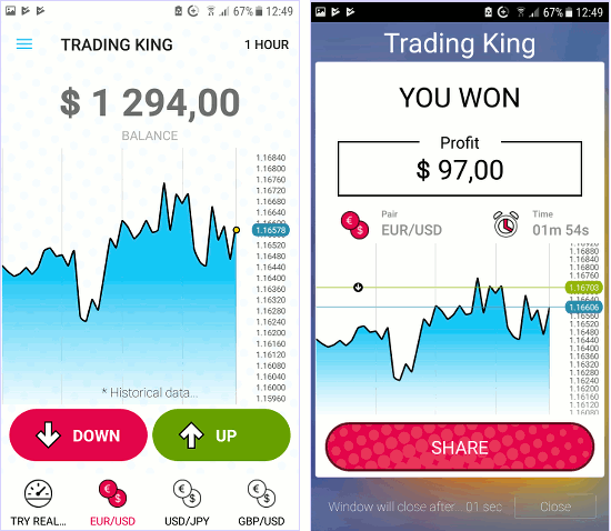 Trading Tycoon is a game for Android that lets you practise investing in currencies