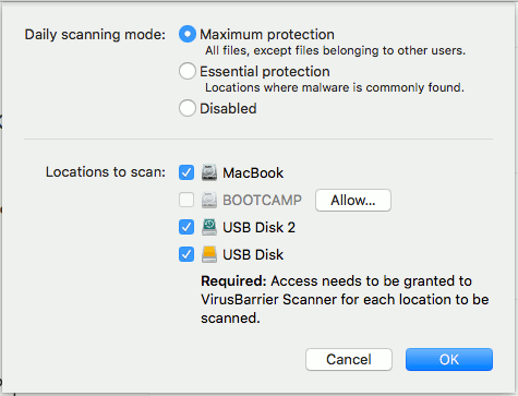 VirusBarrier Scanner for macOS scanning options