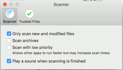VirusBarrier Scanner preferences