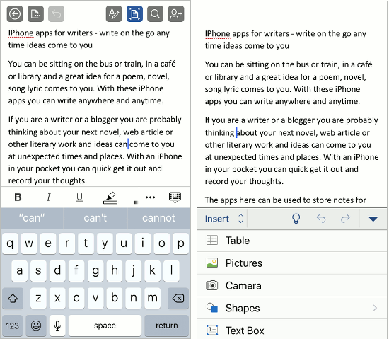 Microsoft Word app on the iPhone