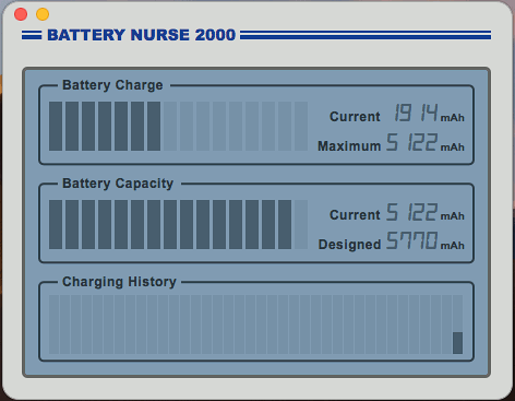 Battery Nurse for macOS shows the Apple Macbook's battery heath and charge