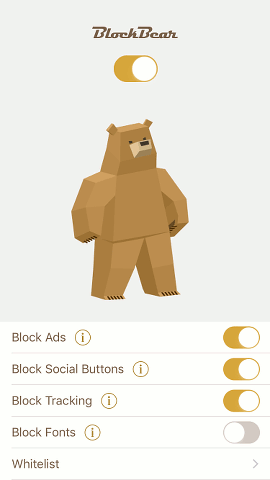 BlockBear content blocker for Safari on the iPhone