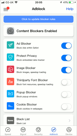Dr. WiFi content blocker for Safari on the iPhone