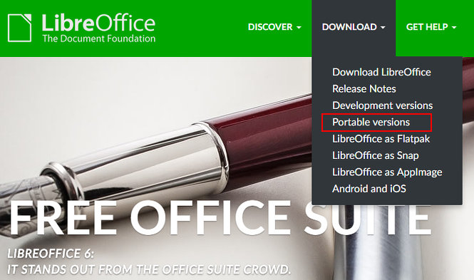 The Download menu at the LibreOffice website offers a portable version
